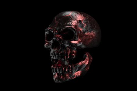 Golden and black skull on black background. The demonic skull of a vampire. Scary skilleton face for Halloween. Dead vampire, skull with vampire fangs. 3D rendering. Stok Fotoğraf
