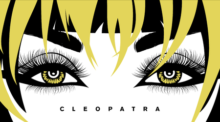Vector eye lashes and hair. Hand-drawn woman s sexy luxurious eye with perfectly shaped eyebrows and full lashes. Make up Idea for business card, flyer or banner. Perfect salon look. Cleopatra eyes.