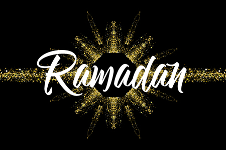 Ramadan Kareem greeting card arabic template. Calligraphy with colorful with gold glitter effect. Islamic banner background design.