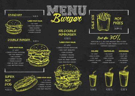Disegno del manifesto del menu di hamburger sugli elementi della lavagna. Menu di fast food in stile skech. Può essere utilizzato per layout, banner, web design, modello di brochure. Illustrazione vettoriale.