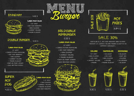 Burger menu poster design on the chalkboard elements. Fast food menu skech style. Can be used for layout, banner, web design, brochure template. Vector illustration.