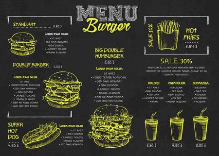 Conception d'affiches de menu Burger sur les éléments du tableau. Style skech de menu de restauration rapide. Peut être utilisé pour la mise en page, la bannière, la conception Web, le modèle de brochure. Illustration vectorielle.