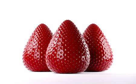 Fresh red strawberry. Whole strawberry. Ripe mellow berry on white background. Clean and glossy berries. Realistic 3d rendering. Reklamní fotografie