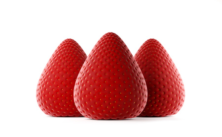 Fresh red strawberry. Whole strawberry. Ripe mellow berry on white background. Realistic 3d rendering.