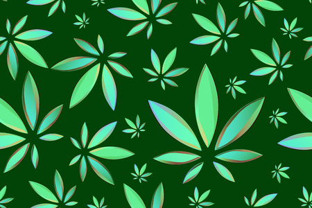Marijuana leaves seamless vector pattern. Cannabis plant green background. Dense vegetation of ganja