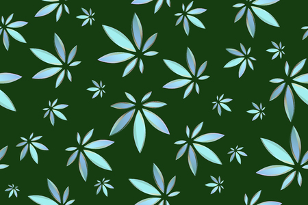 Marijuana leaves seamless vector pattern. Cannabis plant green background. Dense vegetation of ganja