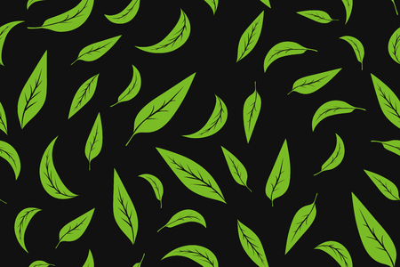 Seamless pattern with green tea leaves on white background. Hand painting on paper. May used in fabric, wrapping paper. Vector illustration