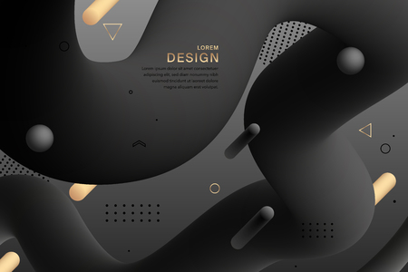 Abstract black design gradient geometric colorful wavy minimal background. Abstract fluid forms. Trendy liquid 3d figure. Modern template for greeting card, flyer, brochure or banner