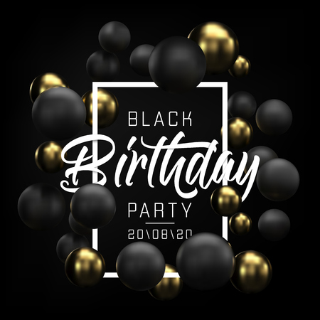 Happy Birthday card, party flyer or banner design with black and gold balloons. Invitation with golden and black 3d spheres on black background. Happy birthday congratulation. Vector