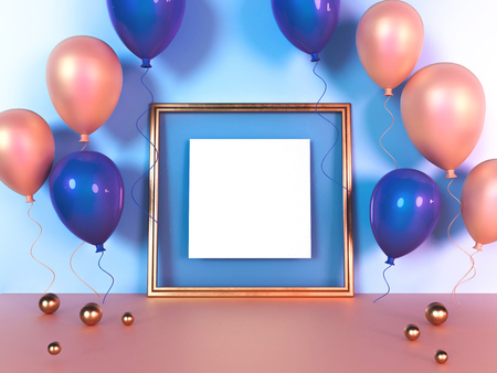 Colorful balloons next to golden picture frame in front of wall. 3D Rendering.
