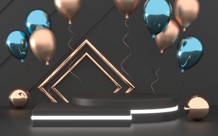 3d render of party design composition. 写真素材