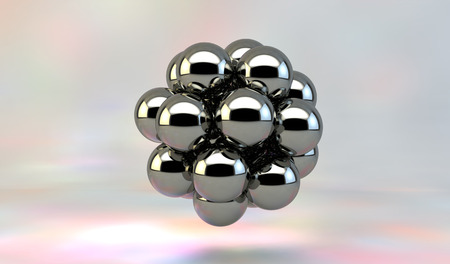 Abstract 3d metal molecule or atom. 免版税图像