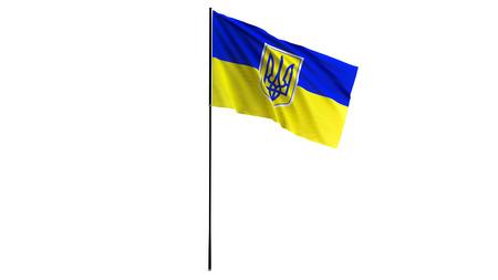 Ukraine flag waving on white