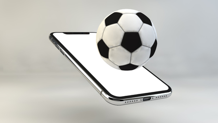 Mobile soccer. Football field on the smartphone screen and ball.