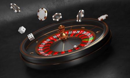 Luxus Casino Rouletterad auf Schwarz wheel Standard-Bild