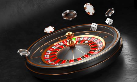 Luxury Casino roulette wheel on black