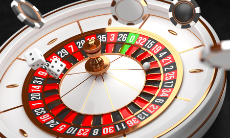 Luxury Casino roulette wheel on black