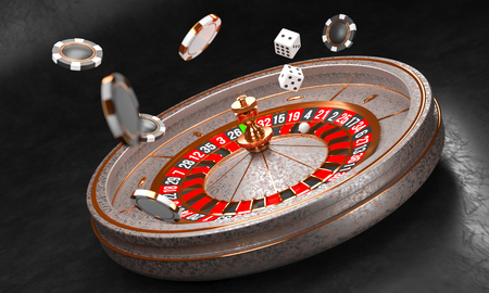 Luxury Casino roulette wheel on black 版權商用圖片 - 123974836