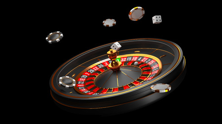 Luxury Casino roulette wheel isolated on black