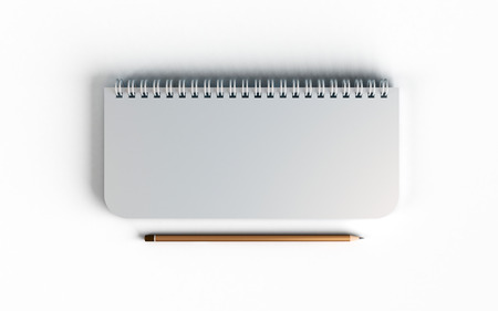 Business mock up top view of closed spiral blank recycled paper cover notebook with pencil on white desk