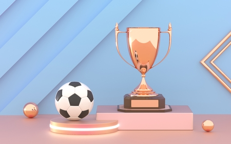 Golden trophy cup with soccer ball on the podium. Winner Cup and football ball.