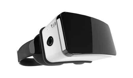 Black and White VR Virtual Reality Headset Isolated on White