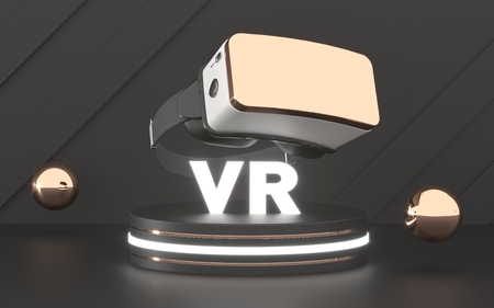 VR Glasses. Virtual reality headset device. Abstract black VR room with podium for presentation 3d product or game.