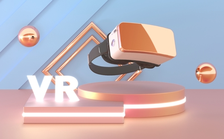 VR Glasses. Virtual reality headset device. Abstract VR room with podium for presentation 3d product.