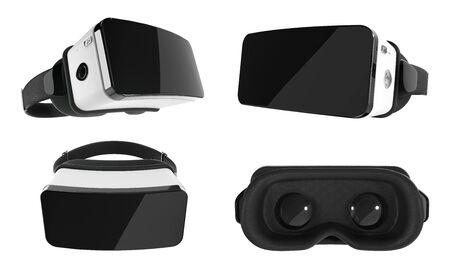 Set of Black and White VR Virtual Reality Headset Isolated on White