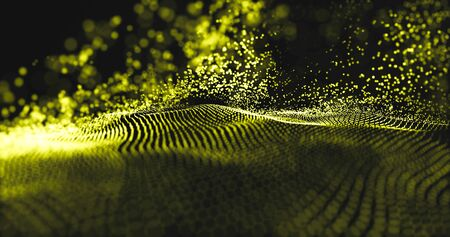 Data technology with gold particles and luxurious sparkling wave.