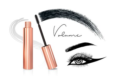 Mascara eyeliner and brush stroke vector, beauty and cosmetic background. Vector illustration