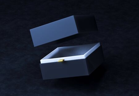 Square Black Gift Box in the air mock up on black