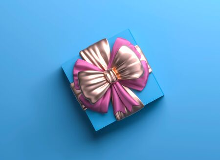 Blue gift box with gig golden bow. Christmas box template black background. Luxury packaging collection. Present box top view. 3D Rendering. Stockfoto