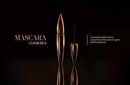 Styulish fashion golden mascara bottle. Brush and mascara tube. Golden wand and tube on black background. Fashionable cosmetics packaging. Gold make up design