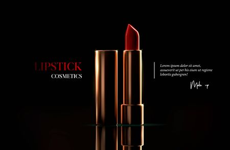 Fashion lipstick cosmetic template for ads, flyer or banner. Realistic 3d golden red lipstick on black background. Makeup magazine template with stylish gold lipstick. Luxury cosmetic products brand