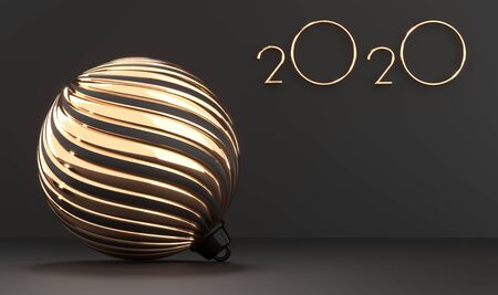 2020 golden numbers and chrismas tree golden ball  with place for text.