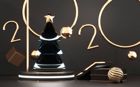 2020 golden numbers and chrismas tree with star on podium with gold gift box. Stockfoto