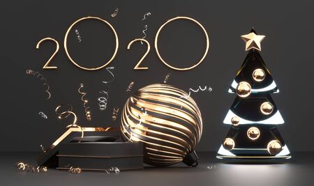 2020 golden numbers and chrismas tree with star on podium with gold gift box. Imagens