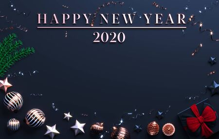 Happy New Year 2020. Christmas black background with place for text. Christmas tree balls, branches and gifts decorations. Copy space Christmas background. 3d rendering.