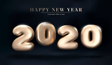 Gold 2020 numbers Happy New Year on a dark Stock Illustratie