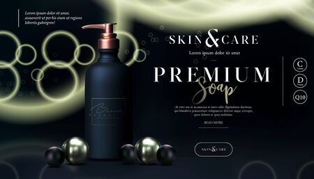 Stylish skin care cosmetics body lotion, washing gel or cleancer in black gold bottle with pump. Liquid soap packaging poster, flyer, or web banner. Mock-up promo black banner. Soap promo design.