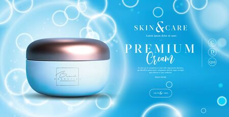 Elegant cosmetic background cream jar for skin care products. luxury facial cream. Beautiful flyer or banner design for cosmetic ads. Blue cosmetic premium cream template. Makeup products brand. Ilustração