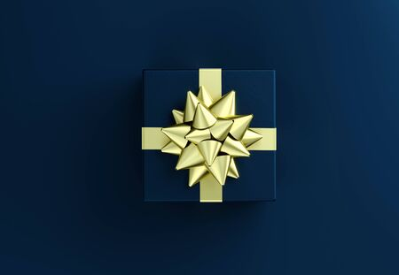 Blue gift box with big golden bow. Christmas box template black background. Luxury packaging collection. Present box top view. 3D Rendering Imagens