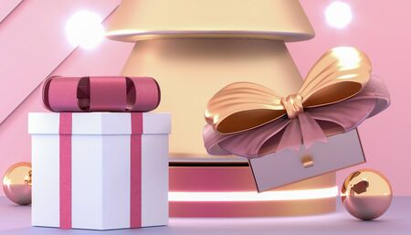 Happy New Year or Christmas background with decorative gift boxes. Golden christmas tree and gift boxes. New year presents on the podium. 3d rendering