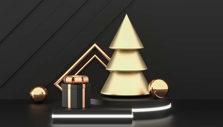 Happy New Year or Christmas background with decorative gift boxes. Golden christmas tree and gift boxes. New year presents. 3d rendering