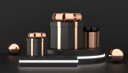 Luxury gift boxes on podium. Christmas present box background. black and gold gift packaging collection. 3D Rendering