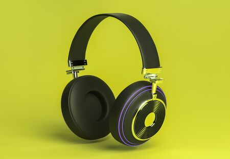 Modern headphones 3d rendering on yellow color background