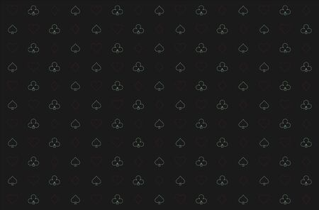 Casino background. Dark black vector background with cards signs. Symbols of playing cards. Design for gambling business or casino. Casino pattern for leaflets of poker games, events.