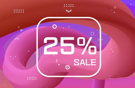 Trendy liquid pink fluid background. Gradient wavy sale banner design. Template for greeting card or flyer