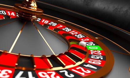 Luxus-Casino-Roulette-Rad auf schwarzem Hintergrund. Casino-Thema. Weißes Casino-Roulette der Nahaufnahme mit einem Ball auf Null. Poker-Spieltisch. 3D-Rendering-Abbildung
